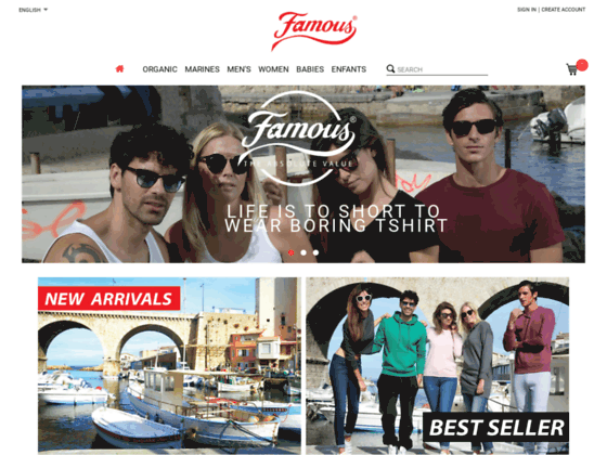 FAMOUS : vente de T-shirts, sweat-shirts, grossiste tee shirts blanc sans marquage