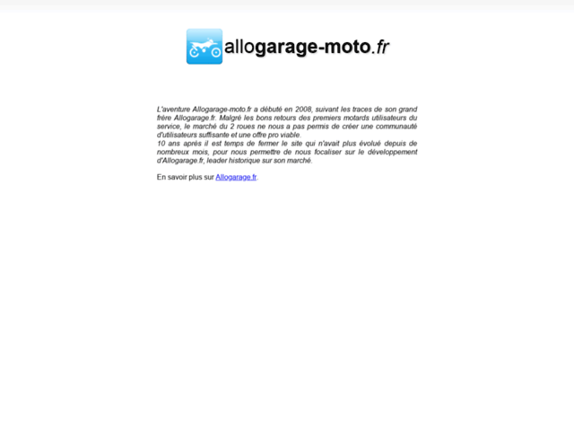Capture d'écran du site allogarage-moto.fr