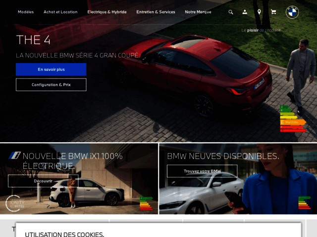 Capture d'écran du site bmw.fr