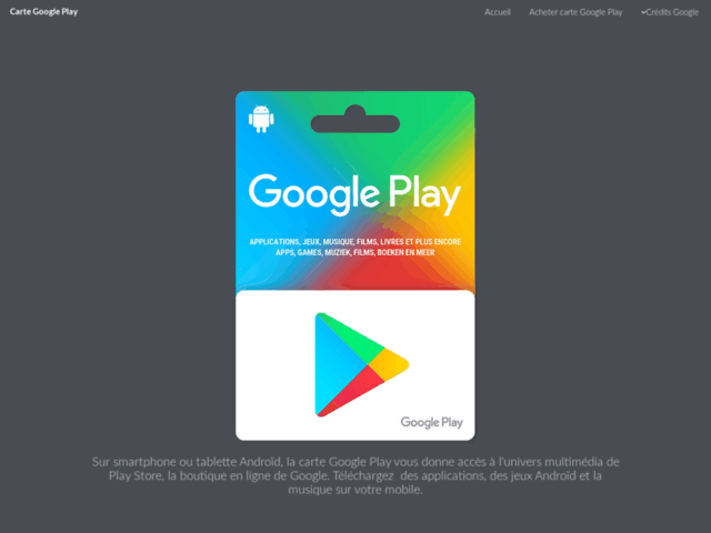 Carte Play : les cartes cadeau Google