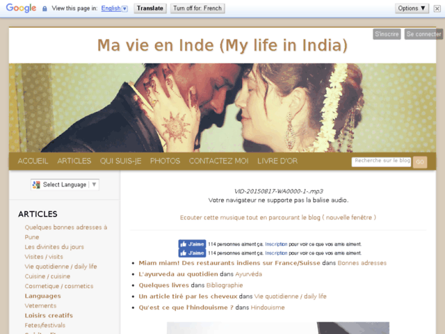 Ma vie en Inde (My life in India)