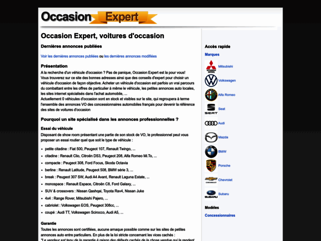 Page d'accueil Occasion Expert