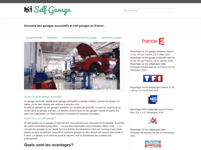 Page d'accueil Selfgarage