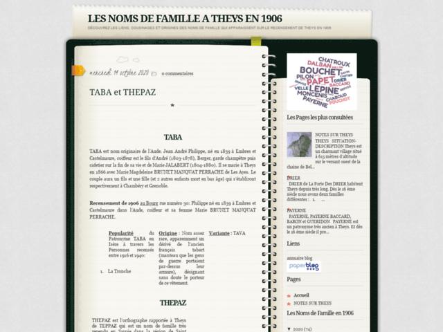 LES NOMS DE FAMILLE A THEYS EN 1906