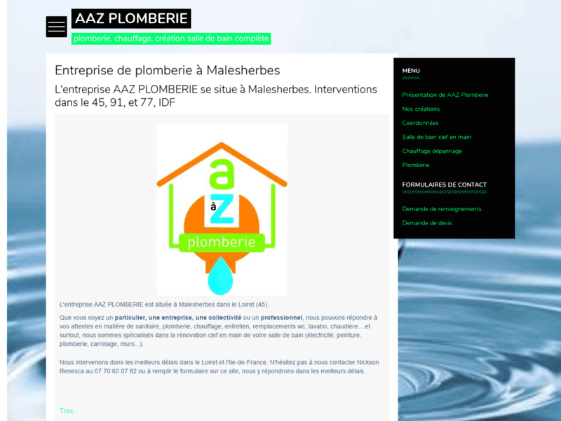 Screenshot du site : AAZ PLOMBERIE