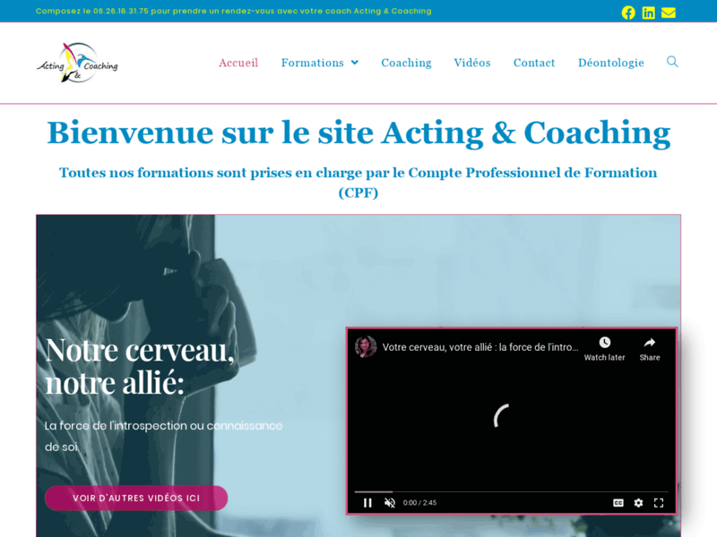 Screenshot du site : Acting & Coaching