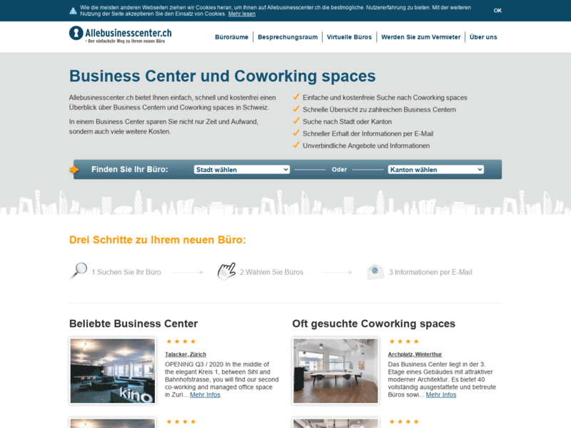 Website's screenshot : Allebusinesscenter.ch