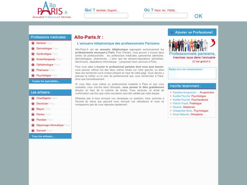Annuaire professionnel sur Paris