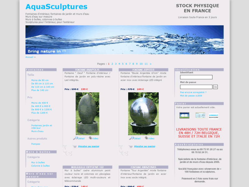 Aquasculptures : fontaines de jardin