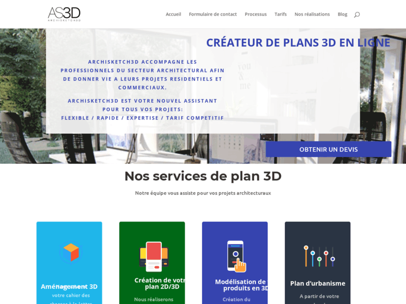 Screenshot du site : Conception de plan 3d en ligne
