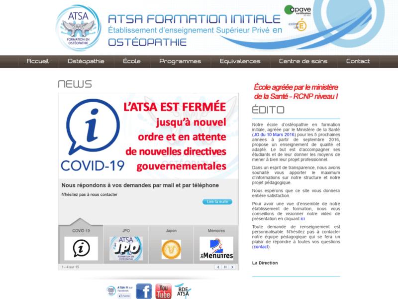 ATSA FI, formation initiale ostéopathie
