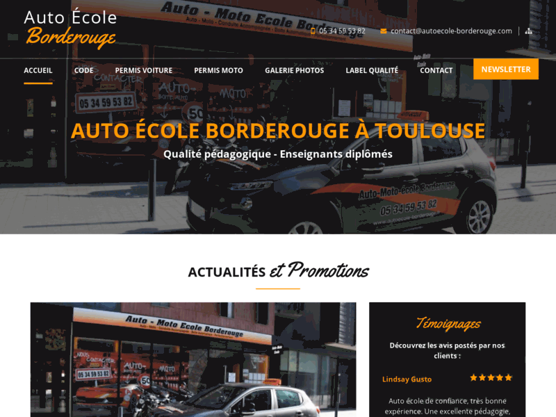 Screenshot du site : Auto moto école Borderouge à Toulouse (31200)