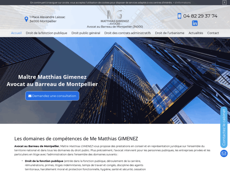Screenshot du site : Avocat au Barreau de Montpellier, Maître Gimenez
