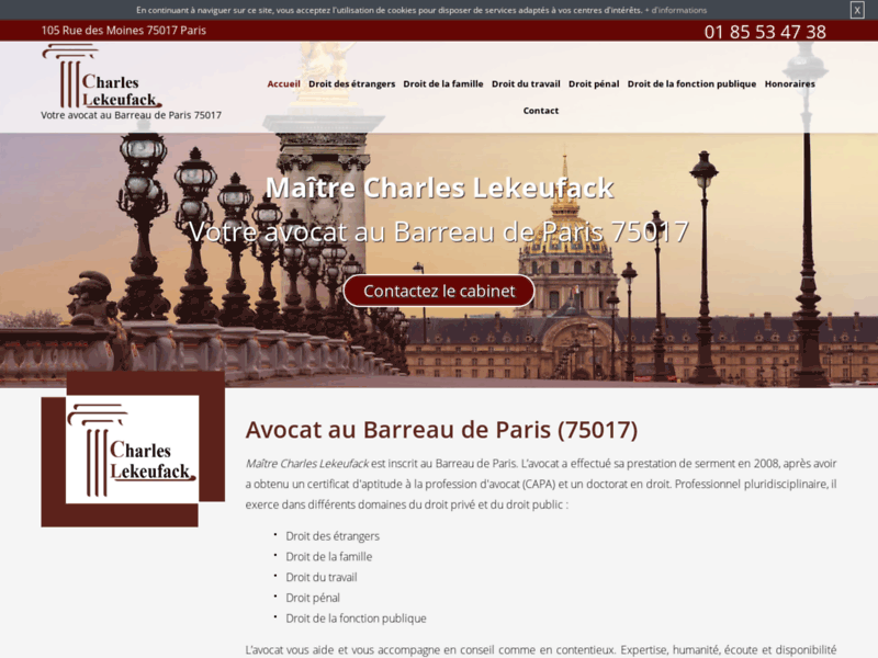 Screenshot du site : Avocat en licenciement à Paris 17