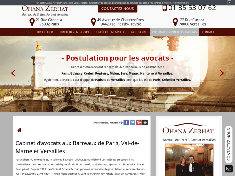 Screenshot du site : Meilleur cabinet d'avocats au Barreau de Paris