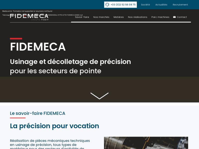 Screenshot du site : Fidemeca Berieau Décolletage, Usinage de précision