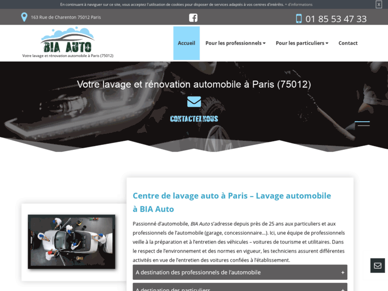 Screenshot du site : Lavage interieur de voiture à Paris