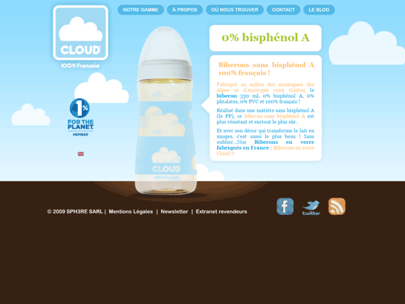 Biberons Cloud sans bisphénol A