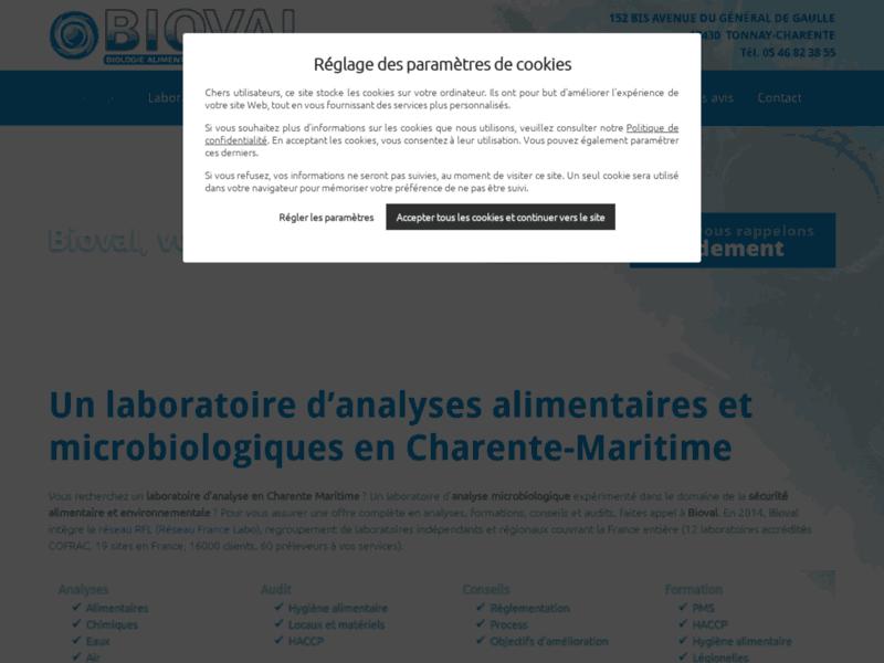Laboratoire Bioval, laboratoire d'analyses microbiologiques, Tonnay-Charente