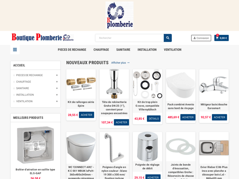 Achat, vente de pièces détachées de plomberie