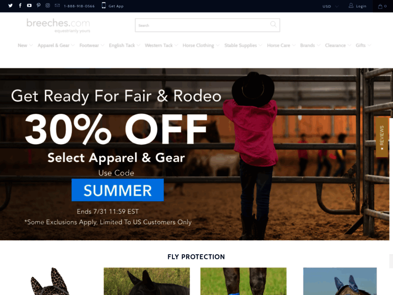 Website's screenshot : Breeches - Equestrian Apparel Brand