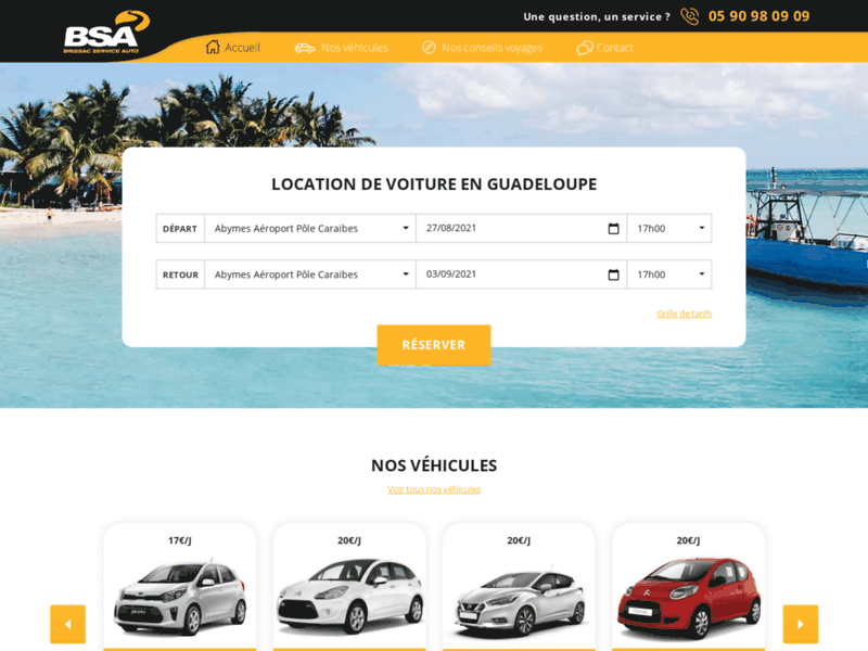 Location de voiture courtes durées en Guadeloupe