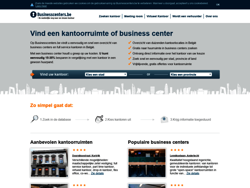 Website's screenshot : Businesscenters Belgium