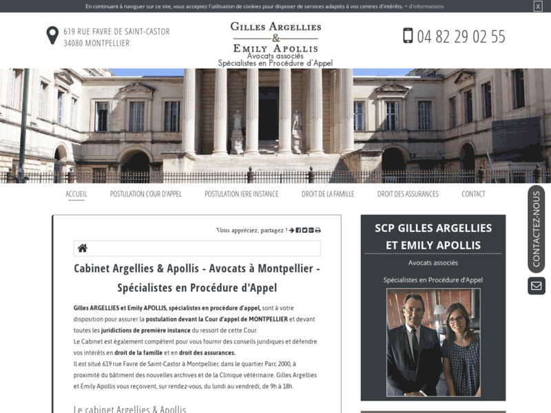 Screenshot du site : Trouver un avocat en postulation à Montpellier