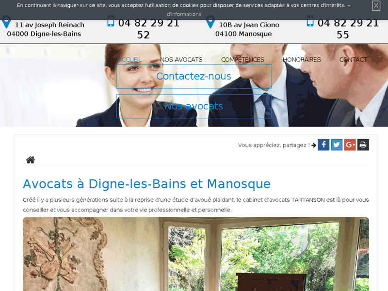 Screenshot du site : Avocat à Manosque en droit commercial