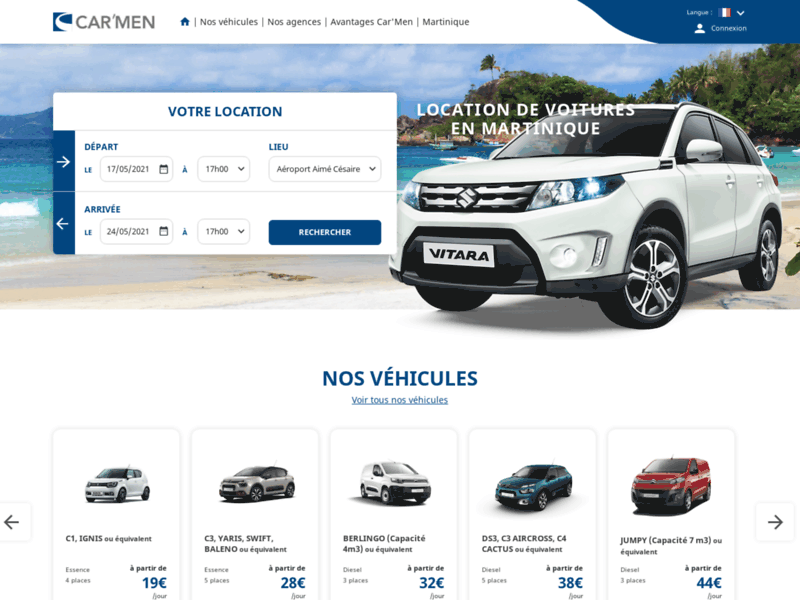 Screenshot du site : Location voiture Martinique Lamentin - Car'Men