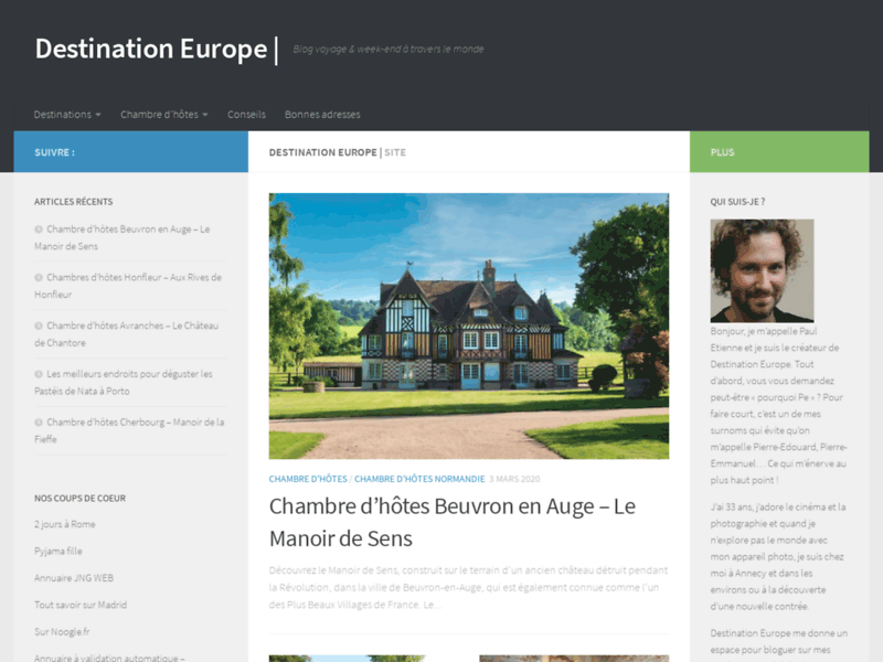 Website's screenshot : Destination Europe - Blog de voyage