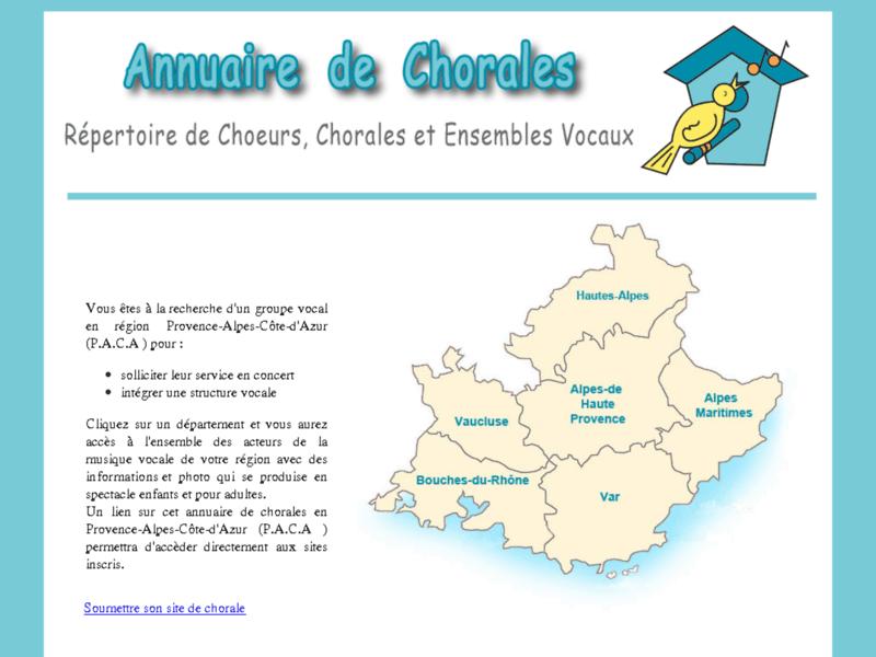 Annuaire chant et chorales Provence-Alpes-Côte d'Azur