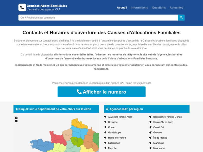 Screenshot du site : Contact Aides Familiales: Contacts CAF