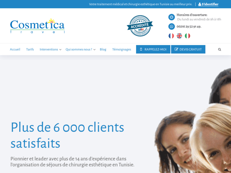 Screenshot du site : Cosmetica Travel