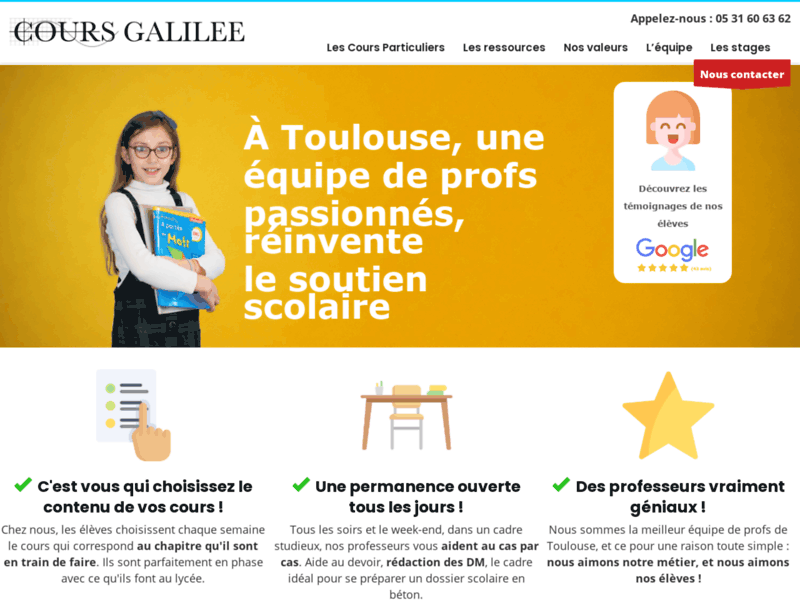 Cours Galilée, soutien scolaire Toulouse