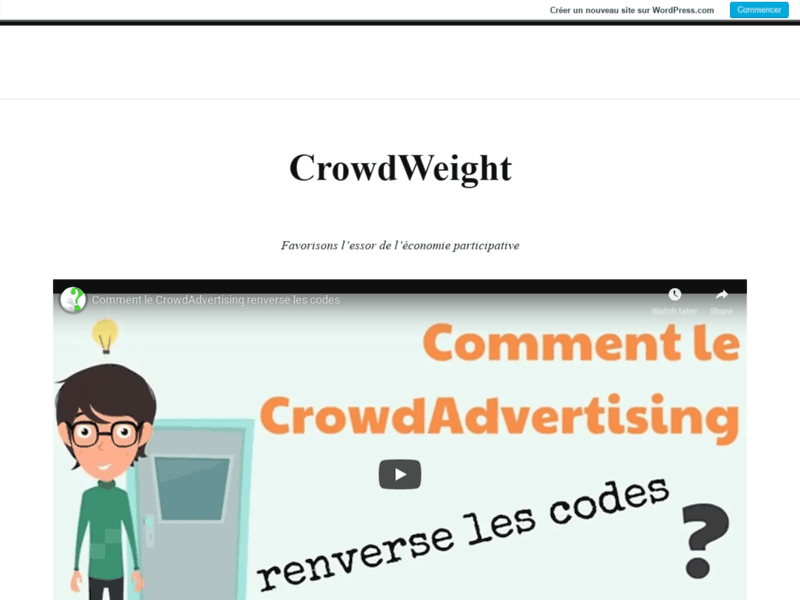 Screenshot du site : CrowdWeight