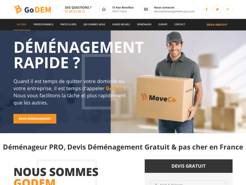 Screenshot du site : GoDEM , Devis déménagement PRO en France