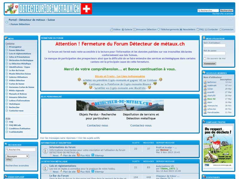 Détecteur de métaux - Forum Suisse
