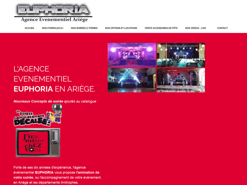 Screenshot du site : DJ Euphoria, le professionnel de l'animation.