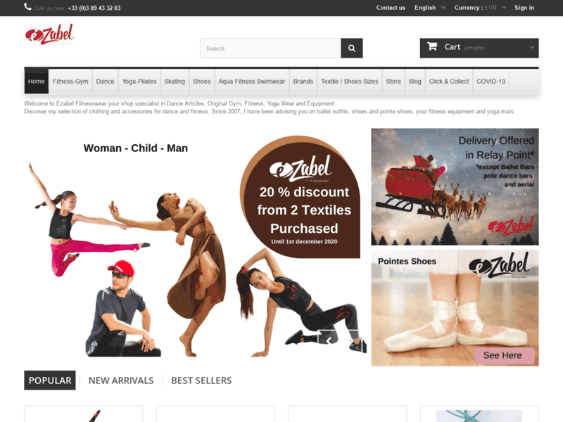Screenshot du site : Ezabel Fitness, Danse et Yoga Mulhouse