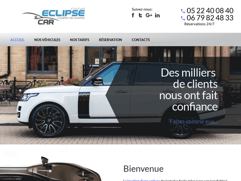 Screenshot du site : location voiture aeroport casablanca