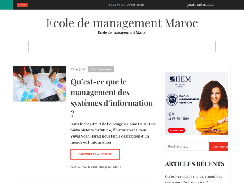 Screenshot du site : Formations Bac+5 en Management