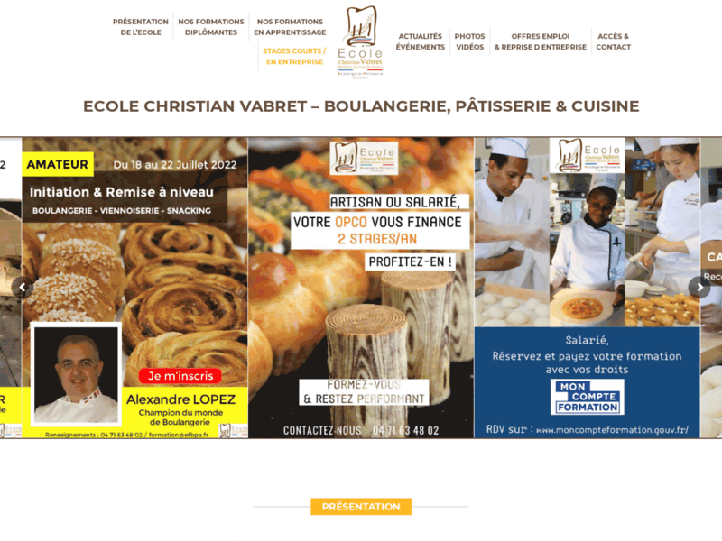 Screenshot du site : Ecole Christian Vabret