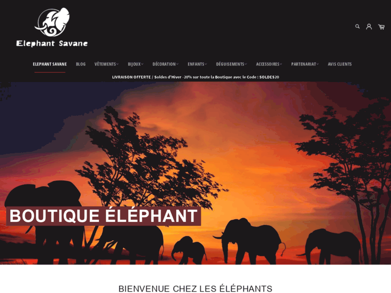 Screenshot du site : Elephant Savane