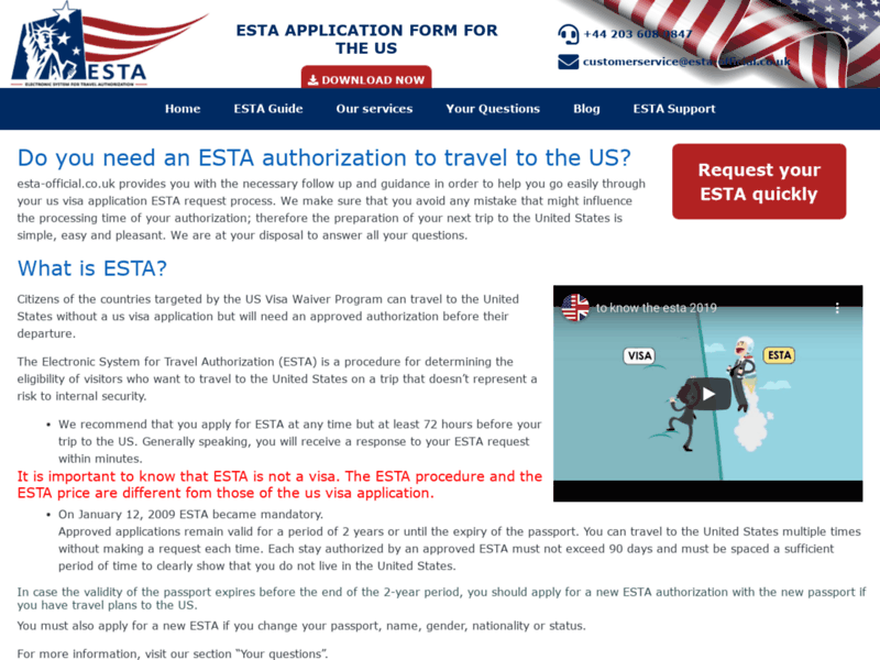 Website's screenshot : Esta authorization application to the United State