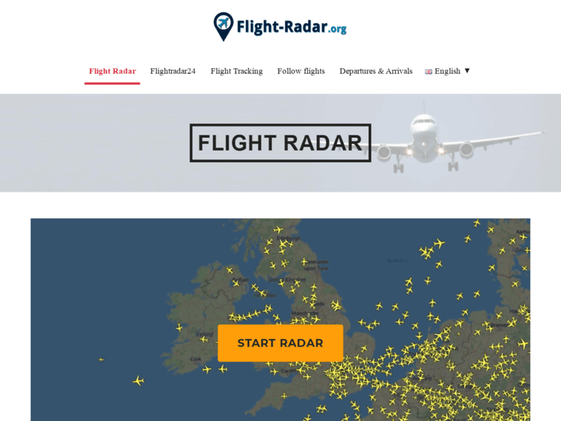 Screenshot du site : Flightradar