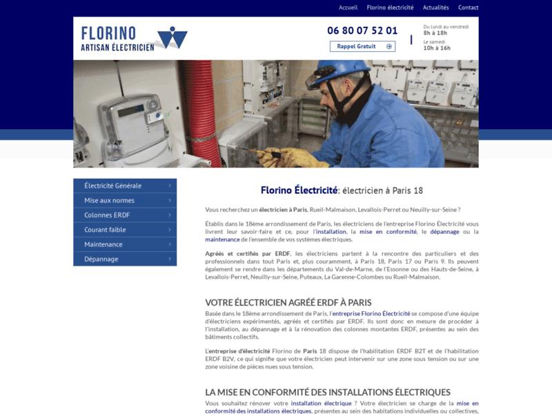 Florino Electricité entreprise  agrée et habilité à Paris