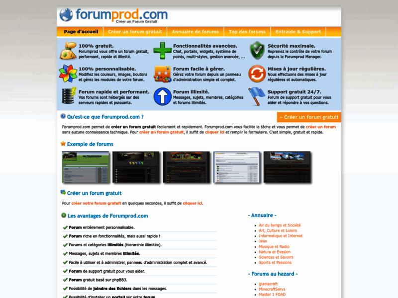 Créer un forum - Forumprod.com