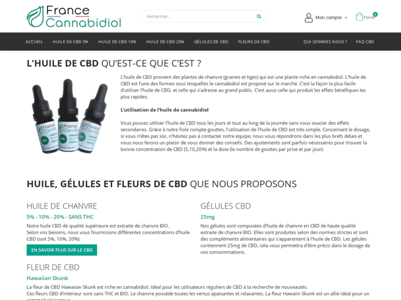 Huile de CBD 5, 10, 20% - FranceCannabidiol
