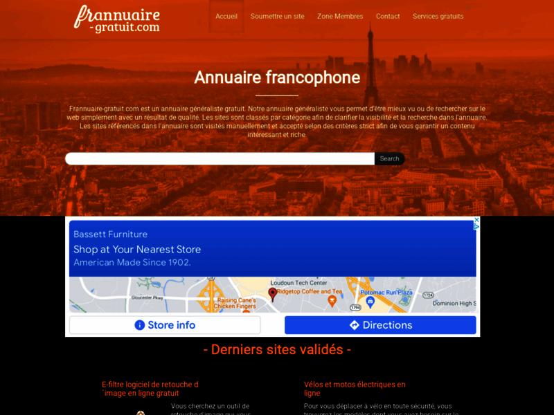 Frannuaire, annuaire généraliste gratuit